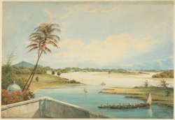 The Adyar River; in the distance St. Thomas's Mount and garden houses beside the river; in the foreground a terrace and country boat